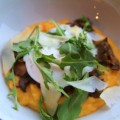 Truffled Polenta topped with Mushrooms and a Poached Egg
