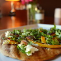 Grilled Pizzas with Yellow Peppers and Goat Cheese