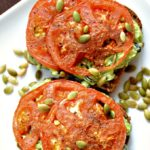 Smashed Avocado, Black Bean + Roasted Tomato Toasts