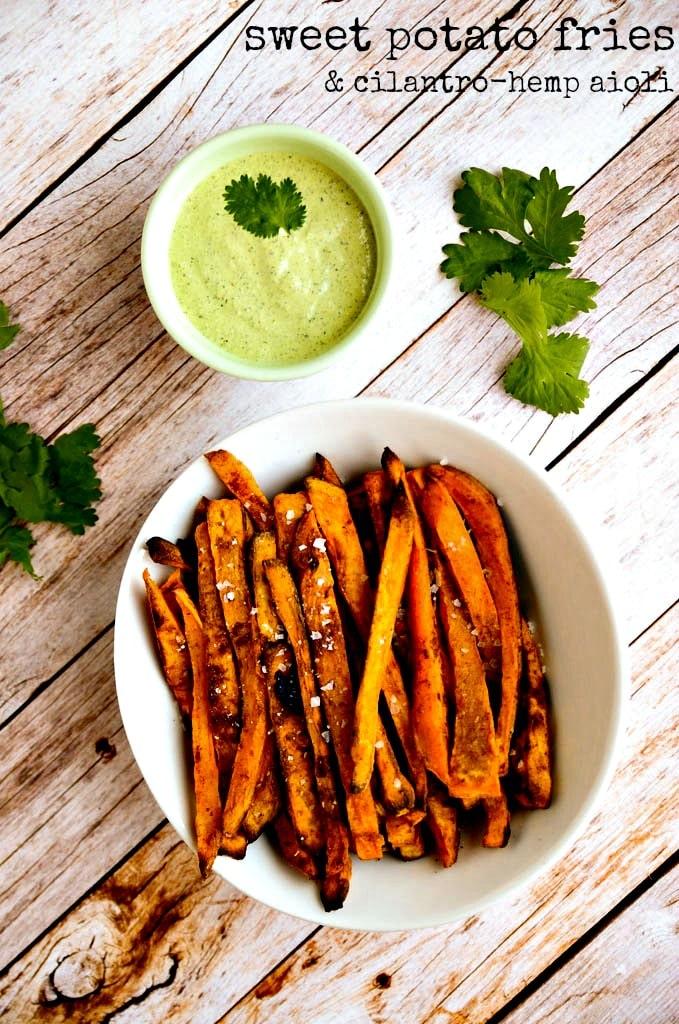 Sweet Potato Fries with Cilantro Hemp Seed Aioli