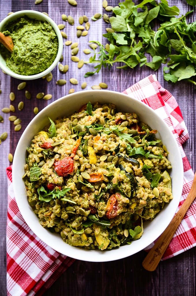 Pesto Farro Salad with Roasted Summer Vegetables - Blissful Basil