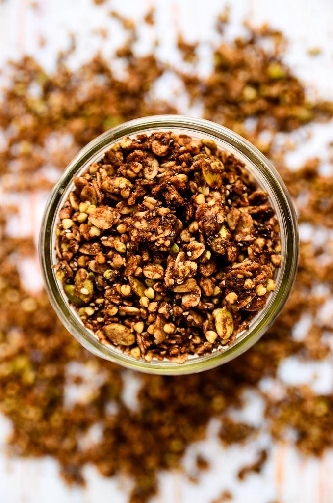 Crunchy Chocolate & Almond Butter Buckwheat Granola