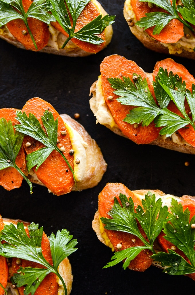 Curried Carrot & Lemony Hummus Crostini - Blissful Basil | Plant-Based ...
