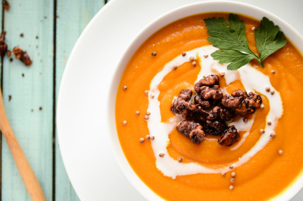 Carrot, Lentil & Squash Soup with Walnut Croutons - Blissful Basil ...