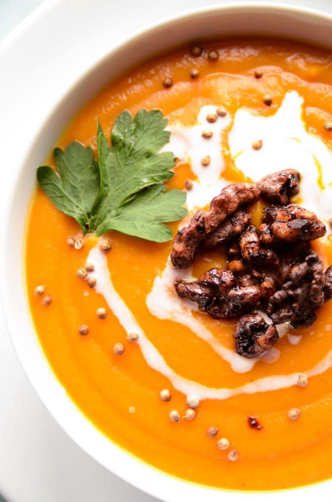 Carrot, Lentil & Squash Soup with Walnut Croutons