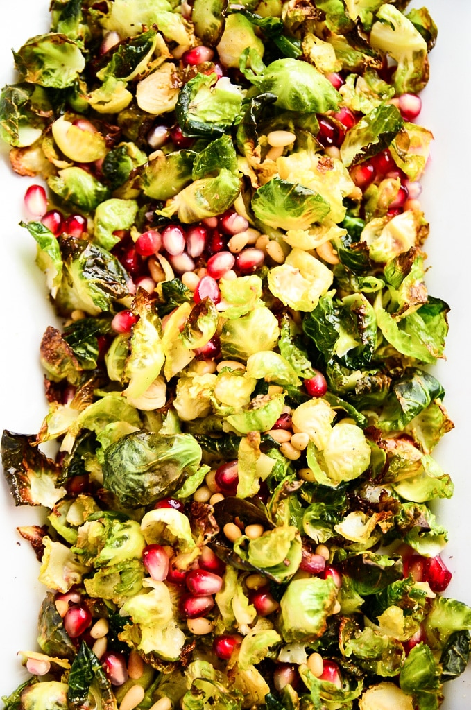 Crispy Brussels Sprout Salad with Pomegranate Seeds - Blissful Basil ...