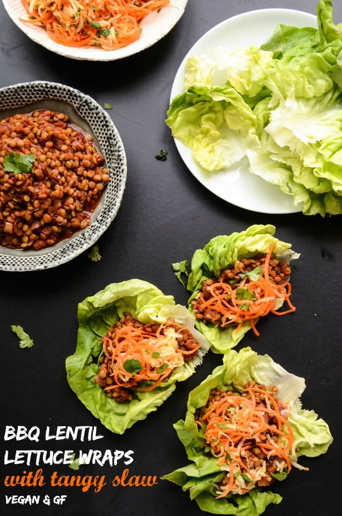 BBQ Lentil Lettuce Wraps with Tangy Slaw (vegan, gf) - Blissful Basil ...