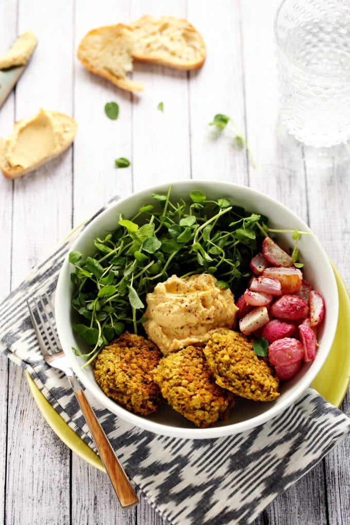 Green Pea Patty, Roasted Radish & Lemony Hummus Bowl - Blissful Basil ...