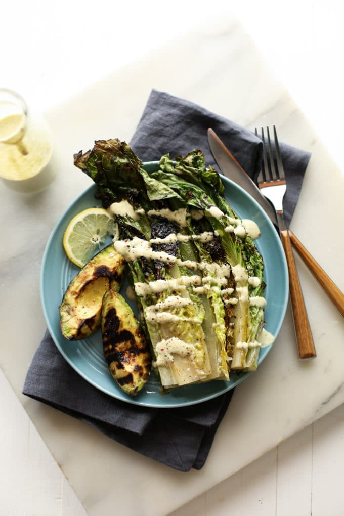 Grilled Avocado and Romaine Caesar Salad
