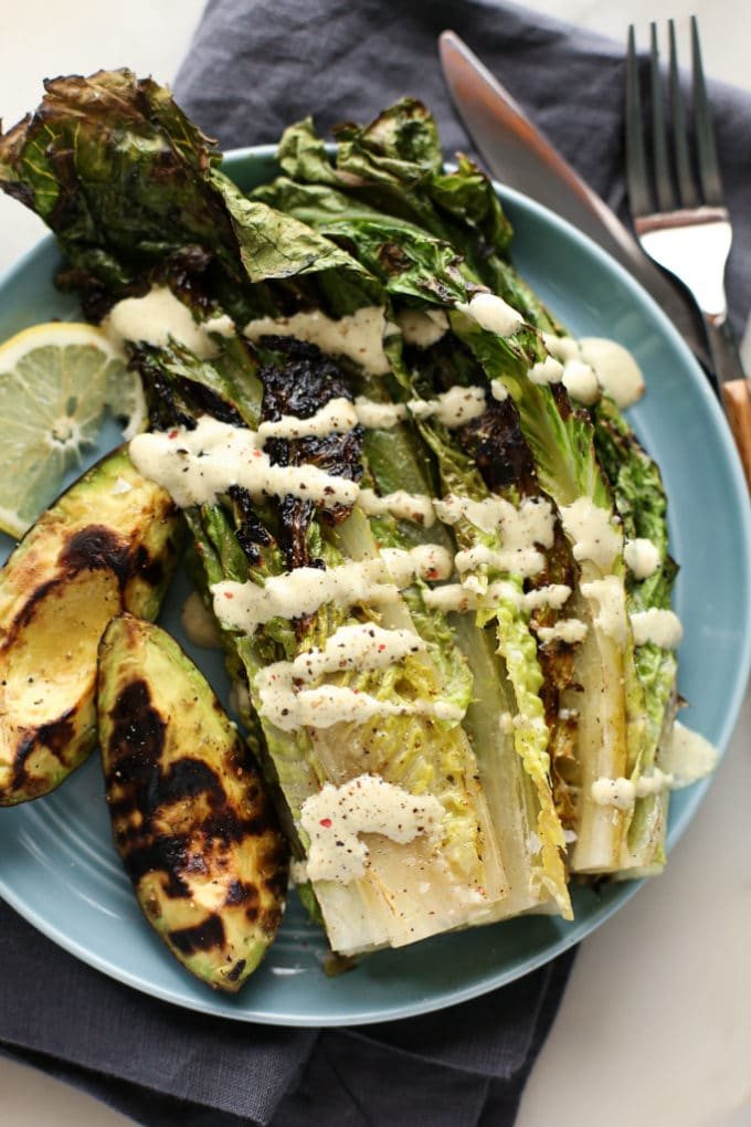 Grilled Avocado and Romaine Caesar Salad-9