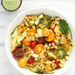 Summer Squash Ribbon Salad with Grilled Sweet Corn, Heirloom Cherry Tomatoes & Cilantro-Pepita Dressing