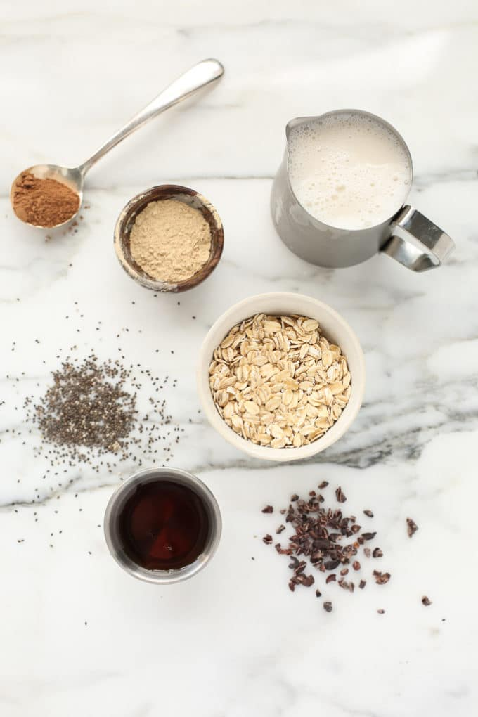Energizing Cacao, Almond Butter & Maca Overnight Oats