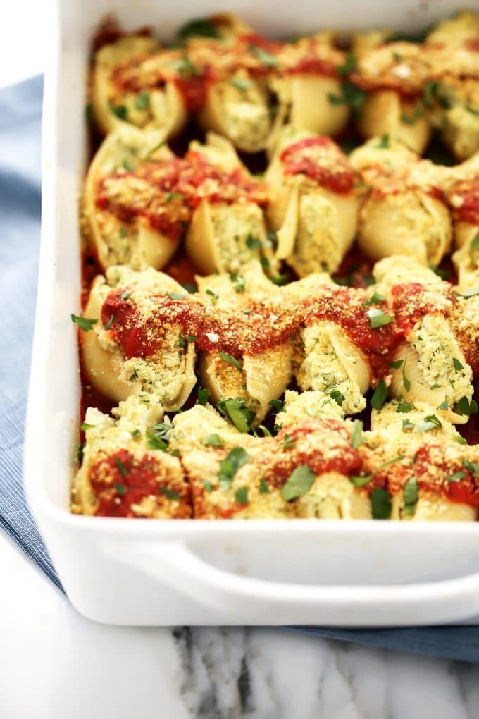 Vegan Cauliflower Ricotta Stuffed Shells from Nom Yourself