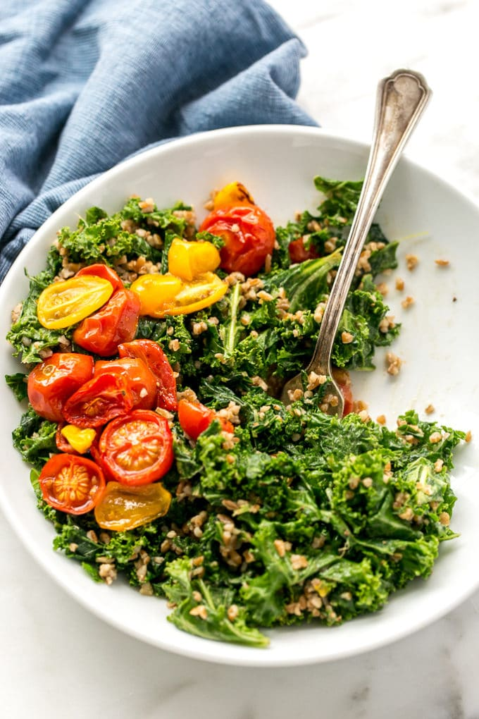 Balsamic Marinated Kale Salad with Bulgar and Roasted Tomatoes