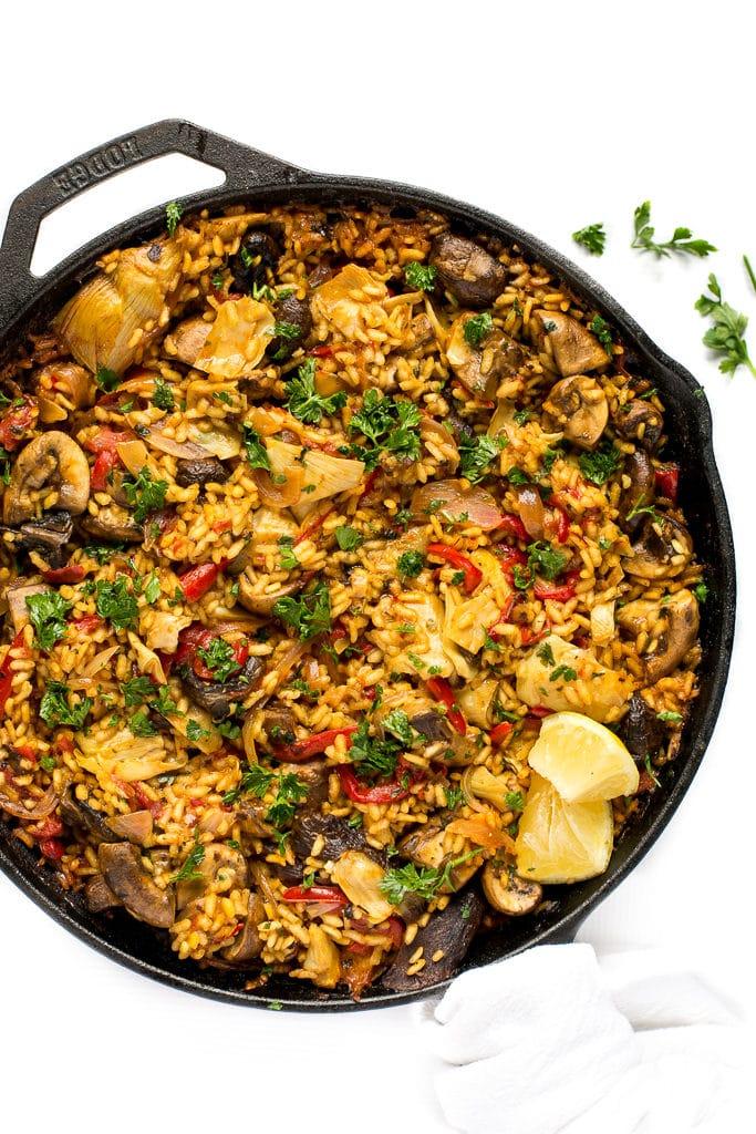 Mushroom Paella + Tips for Making Paella