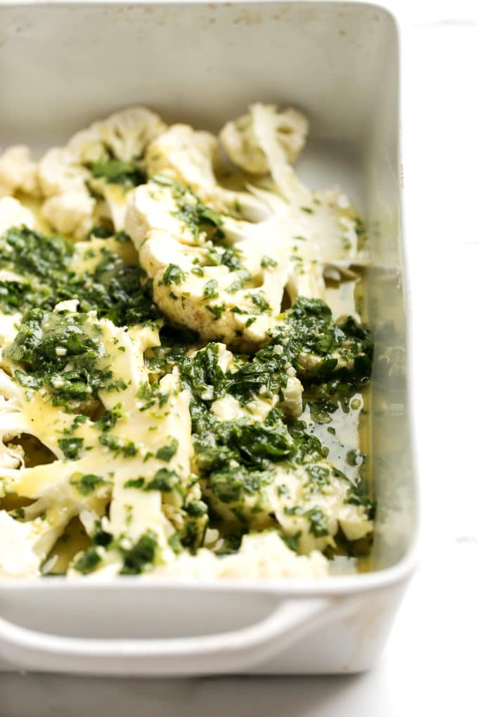 Then, transfer the cauliflower steaks to a parchment-lined baking pan ...