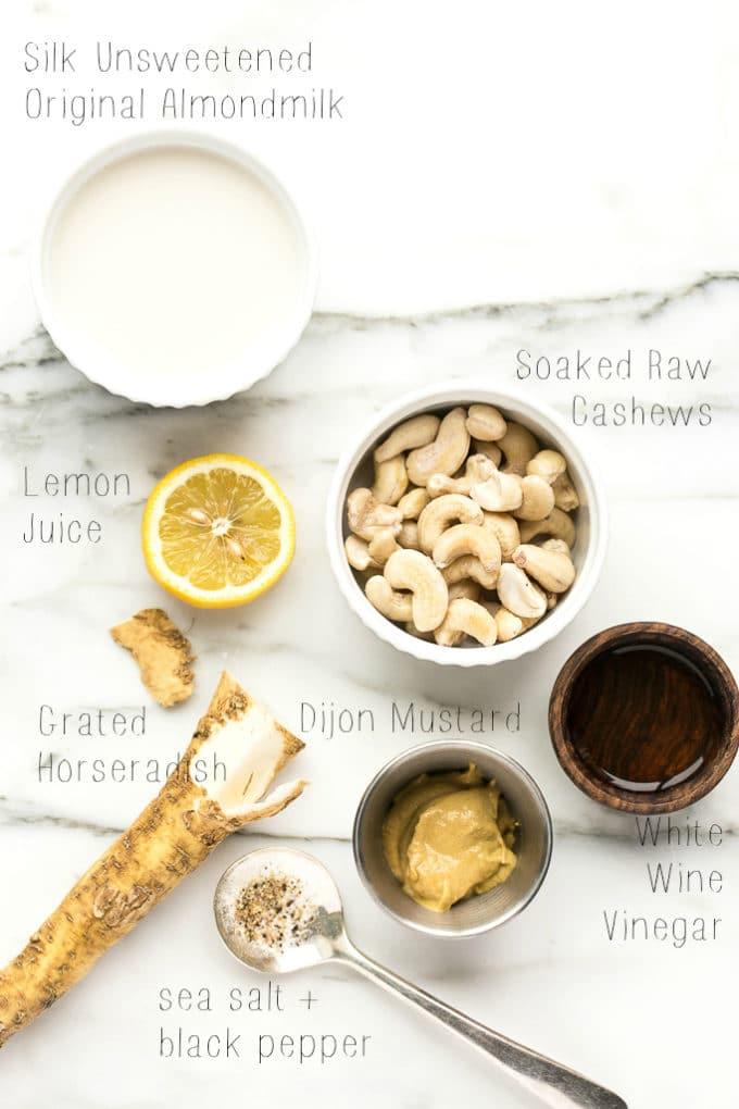 Roasted Lemon Caper Cauliflower Steaks with Creamy Horseradish Sauce