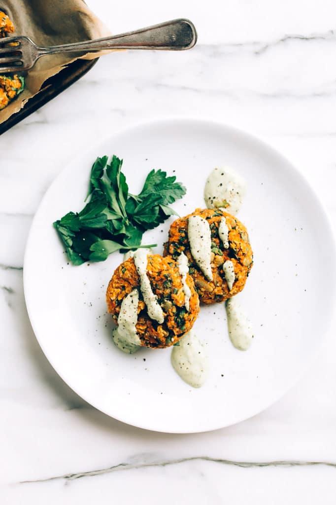 Carrot-Lentil Cakes with Garlic-Herb Tahini Sauce