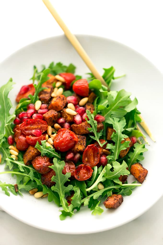 tossed with roasted butternut squash and tomatoes, toasted pine nuts ...