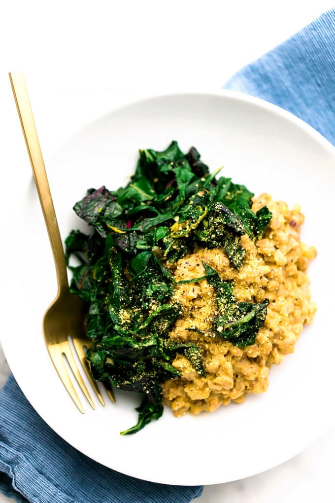 Vegan Parmesan Farro Risotto with Garlicky Greens - Blissful Basil ...